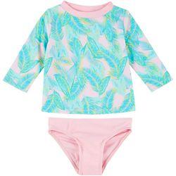 Floatimini Little Girls 2-pc. Feather Rashguard Swimsuit