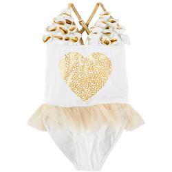 Little Girls Heart Tutu Swimsuit