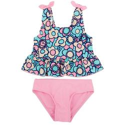 Little Girls 2-pc. Floral Rashguard Swimsuit