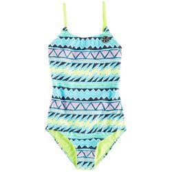 Maui & Sons Big Girls Tribal Stripe One-Piece Swimsuit