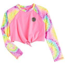Maui & Sons Big Girls Tie Dye Sleeve Rashguard