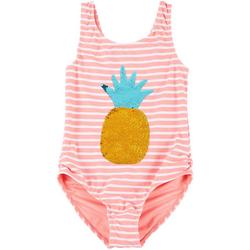 Little Girls Striped Sequin Swimsuit