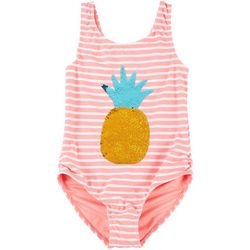 Big Girls Striped Sequin Pineapple Swimsuit