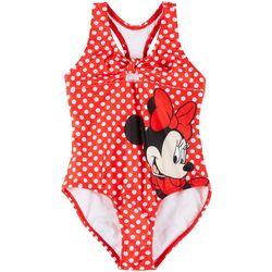 Little Girls Minnie Mouse Polka Dot Swimsuit