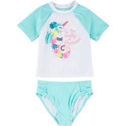 Little Girls 2-pc. Seahorse Rashguard Swimsuit