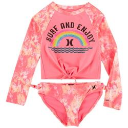 Little Girls 2-pc. Tie Dye Long Sleeve Rashguard Set