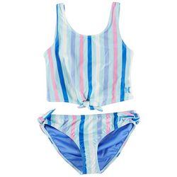 Hurley Little Girls 2-pc. Stripe Tank Swimsuit Set