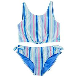 Hurley Big Girls 2-pc. Stripe Tank Swimsuit Set