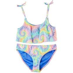 Hurley Little Girls 2-pc Tie Dye Flounce Bikini Swimsuit Set