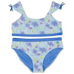 Hurley Big Girls 2-pc. Floral Cap Sleeve Bikini Swimsuit Set