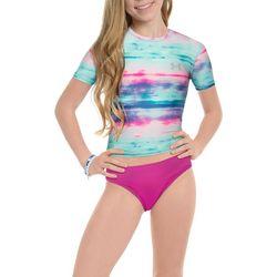 Under Armour Big Girls 2-pc. Tie Dye Rashguard Swimsuit