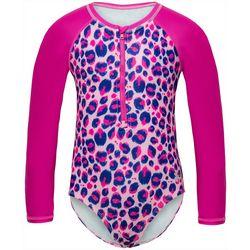Under Armour Little Girls Animal Print Rashguard Swimsuit
