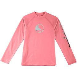 Little Girls Keep It Cool Solid Logo Rashguard