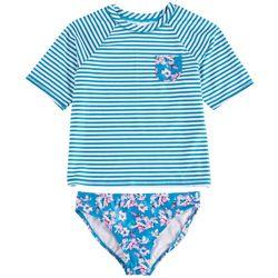 Shelloha Big Girls 2-pc. Floral Stripe Rashguard Swimsuit
