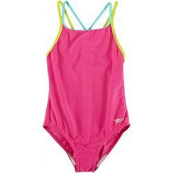 Speedo Big Girls Solid Strappy Swimsuit