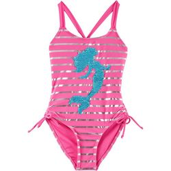 RMLA Big Girls Striped Sequin Mermaid Swimsuit