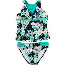 Little Girls Hibiscus Tankini Set