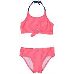 Jessica Simpson Big Girls Solid Tie Front Bikini
