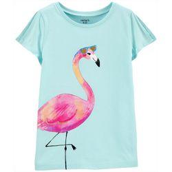 Little Girls Flamingo Split Shoulder Tee