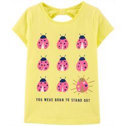 Little Girls Ladybug Bow Back Tee