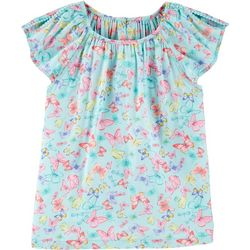 Carters Little Girls Butterfly Split Shoulder Poplin Top
