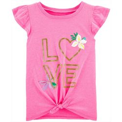 Carters Little Girls Love Tie Front Tee