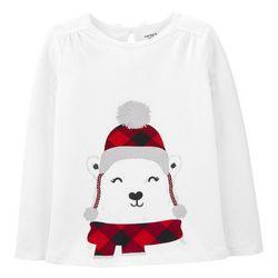 Carters Little Girls Xmas Bear T-shirt