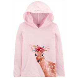 Little Girls Long Sleeve Xmas Deer Hoodie