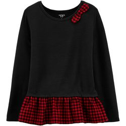 Carters Little Girls Plaid Peplum Jersey Top