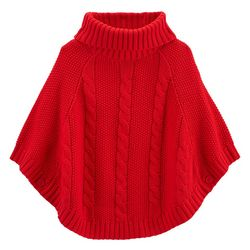 Carters Little Girls Xmas Knit Poncho