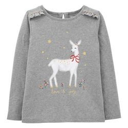 Carters Little Girls Xmas Deer T-shirt