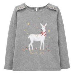 Little Girls Xmas Deer T-shirt