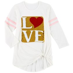 Poof Big Girls Long Sleeve Love Sequin Tee