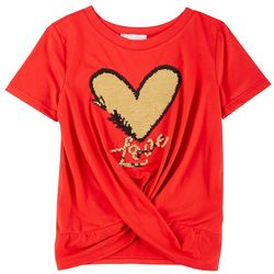 Poof Big Girls Short Sleeve Heart Sequin Tee