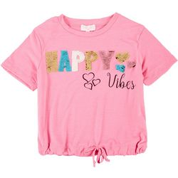 Poof Big Girls Short Sleeve Happy Vibes Sequin Tee