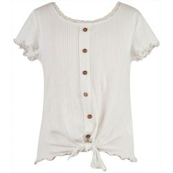 Speechless Big Girls Short Sleeve Botton Front Top