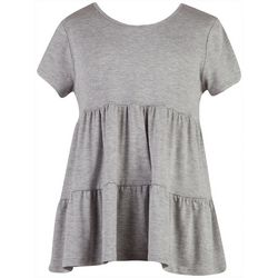 Speechless Big Girls Heather Short Sleeve Tiered Top