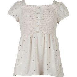 Speechless Big Girls Smocked Dot Print Top