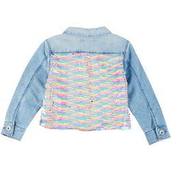 Squeeze Big Girls Flip Sequin Denim Jacket