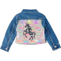 Little Girls Flip Sequin Unicorn Denim Jacket