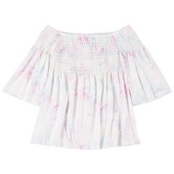 Self Esteem Big Girls Tie Dye Smocked Top