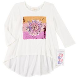 Self Esteem Big Girls Floral Flip Sequin Top & Barrettes