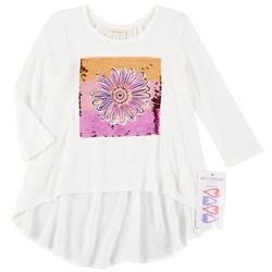 Big Girls Floral Flip Sequin Top & Barrettes
