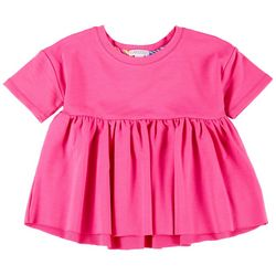Flapdoodles Little Girls Short Sleeve Solid Peplum Top