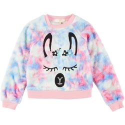 Girls Flower Dog Sherpa Tie-Dye Pullover