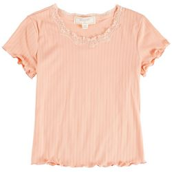 No Comment Big Girls Solid Lace Neck Top
