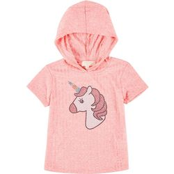 Big Girls Short Sleeve Ribbed Unicorn Hoodie