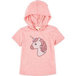 Big Girls Short Sleeve Ribbed Unicorn Hoodie