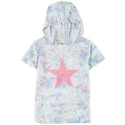 No Comment Big Girls Short Sleeve Tie-Dye Star Hoodie