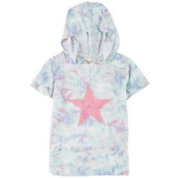 Big Girls Short Sleeve Tie-Dye Star Hoodie